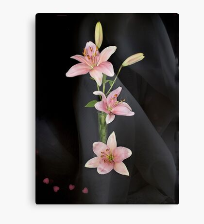 Hearts and Lilies Canvas Print