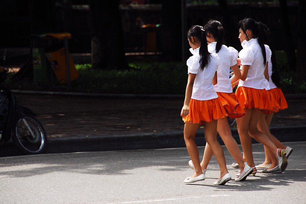 Vietnam Hanoi School Girls by noelmiller