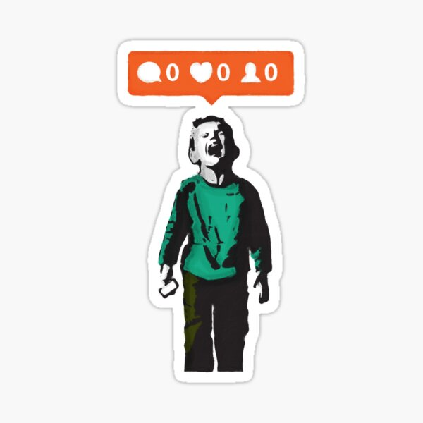 Banksy graffiti NO LIKES Kid crying and social media parody on white background HD HIGH QUALITY ONLINE STORE Sticker