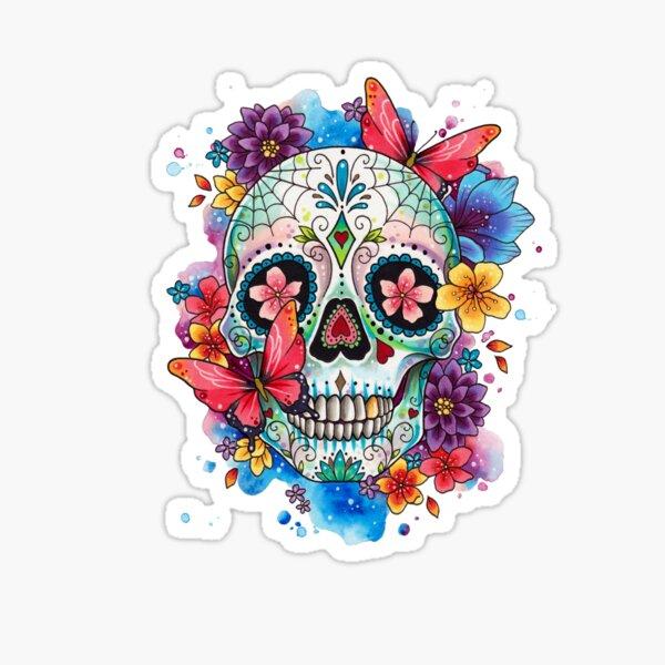 Sugar Skull and Butterflies  Sticker