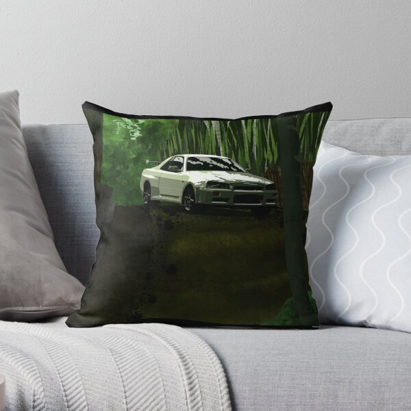 Skyline and Bamboo Throw Pillow