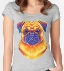 Colorful Rainbow Pug Dog Portrait Women's Fitted Scoop T-Shirt