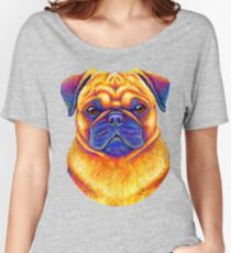 Colorful Rainbow Pug Dog Portrait Women's Relaxed Fit T-Shirt