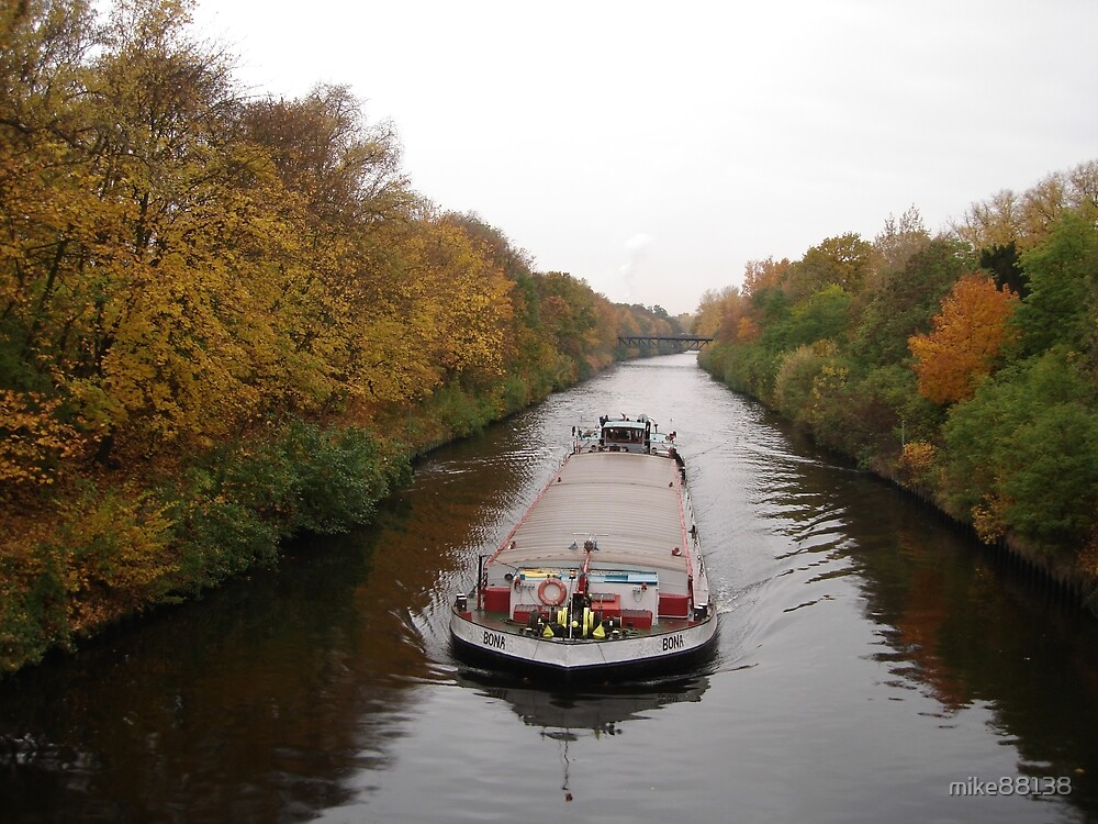 barge at the Teltow channel in Berlin by mike88138