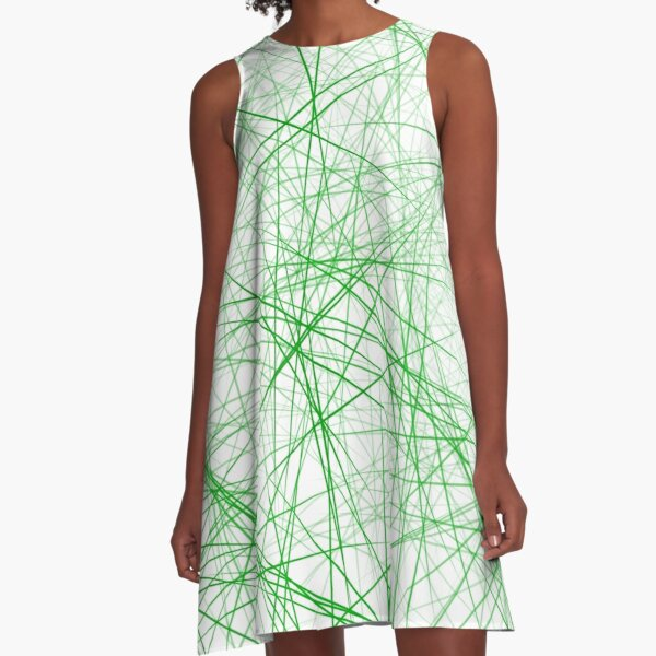 Abstraktes Muster Grün gestreift A-Linien Kleid