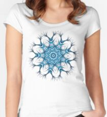 Snowflake Mandala In Blue Women's Fitted Scoop T-Shirt