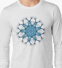 Snowflake Mandala In Blue Long Sleeve T-Shirt