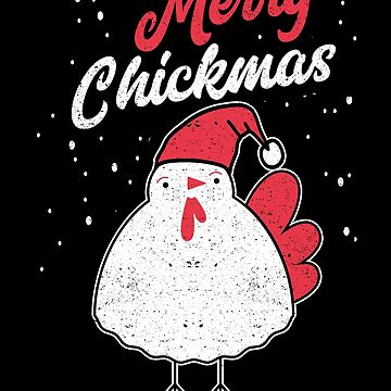 Merry Chickmas Christmas Chicken Santa Hat Holiday by kieranight