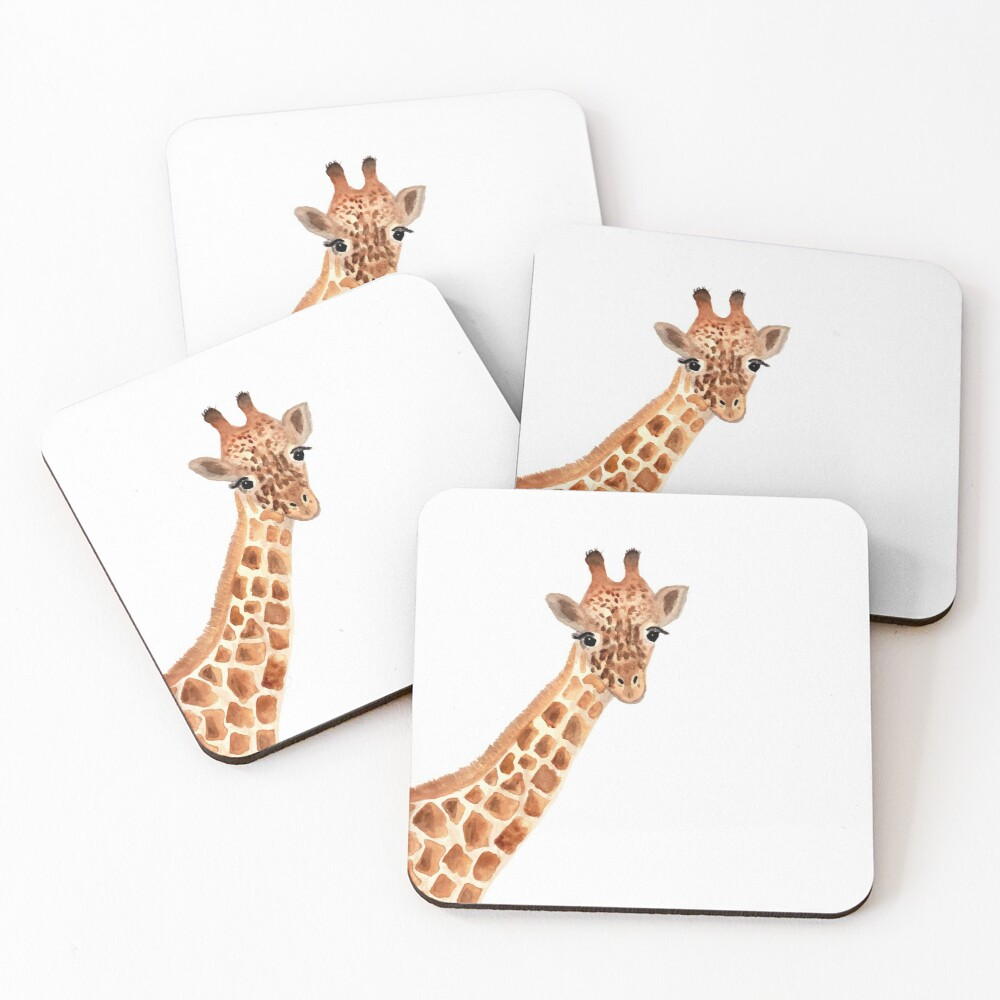 Watercolor Giraffe Coasters (Set of 4)