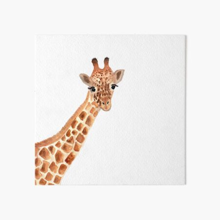 Watercolor Giraffe Art Board Print