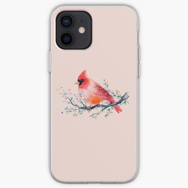 Watercolour red cardinal bird iPhone Soft Case