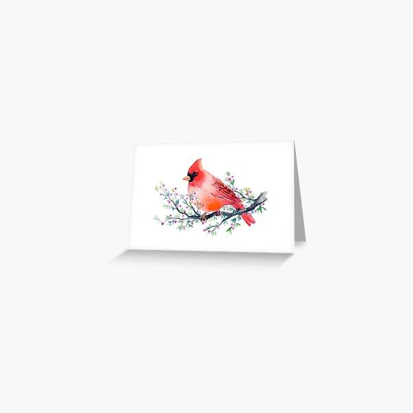 Watercolour red cardinal bird Greeting Card