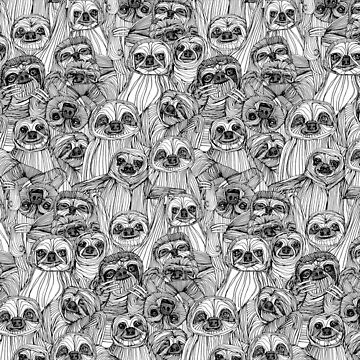 just sloths black white by scrummy