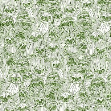 just sloths green white by scrummy
