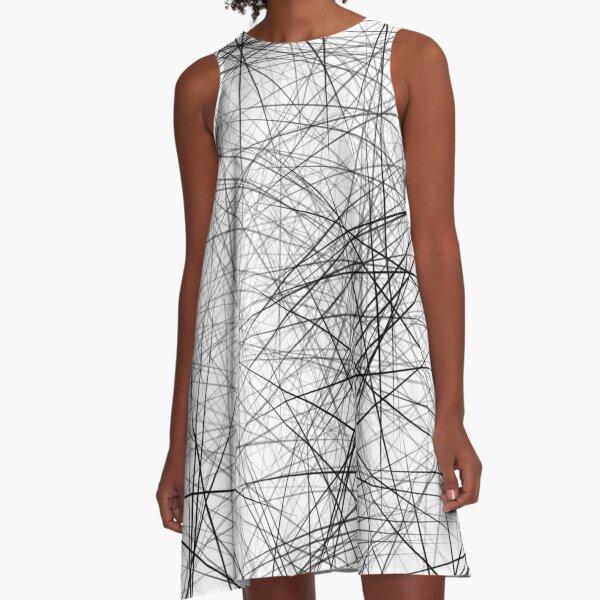 Schwarz Weiß Chaos Linien A-Linien Kleid