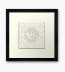 "Ivory Damask ""Mr & Mrs"" Framed Print"