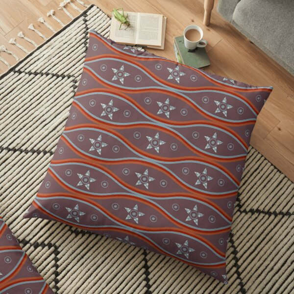 Tribal Lattice with Suns and Stars Floor Pillow