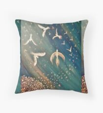 Make a wish...Spiral Birds Throw Pillow