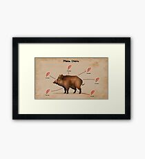 Rust Pig gives chicken  Framed Print