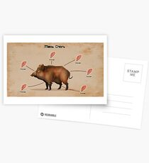 Rust Pig gives chicken  Postcards