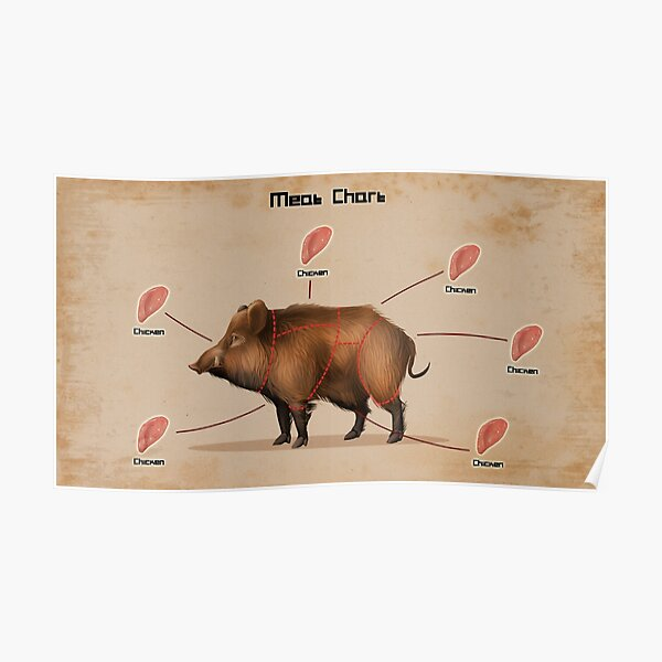 Rust Pig donne du poulet Poster