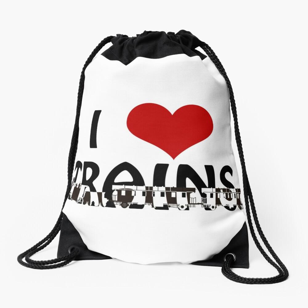 I love Trains Drawstring Bag