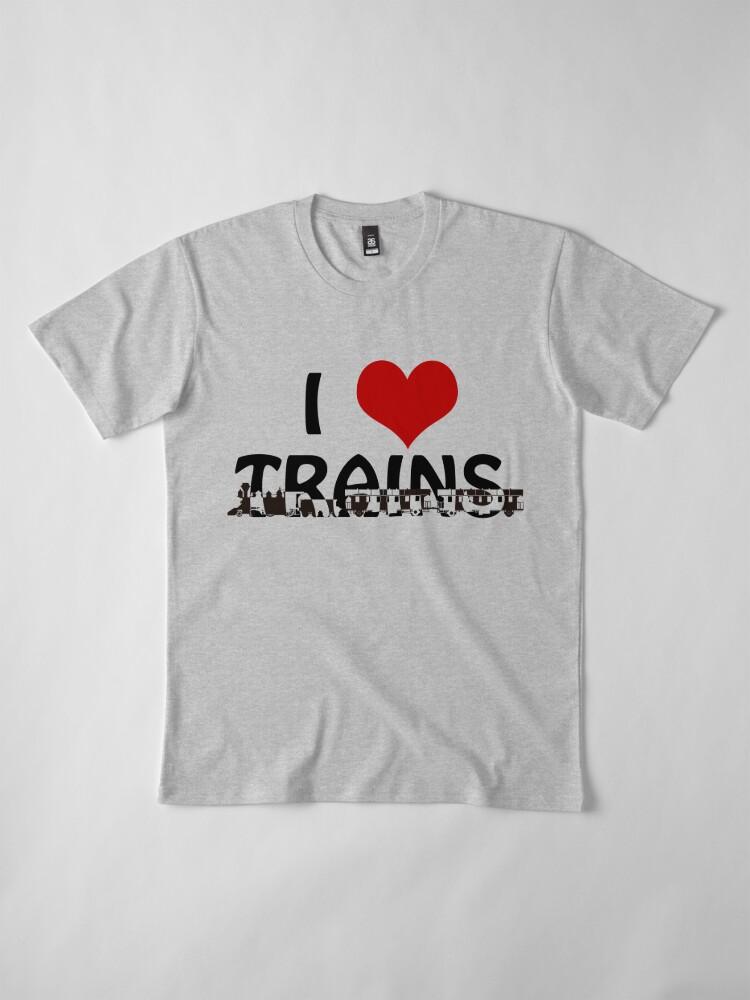 Alternate view of I love Trains Premium T-Shirt