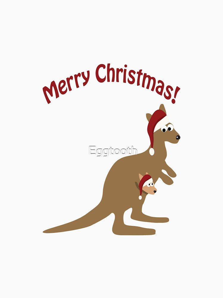 Christmas Kangaroo Cartoon.Merry Christmas Kangaroo And Joey Fitted Scoop T Shirt By Eggtooth