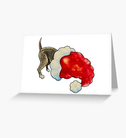 Pup in a Christmas hat! Greeting Card