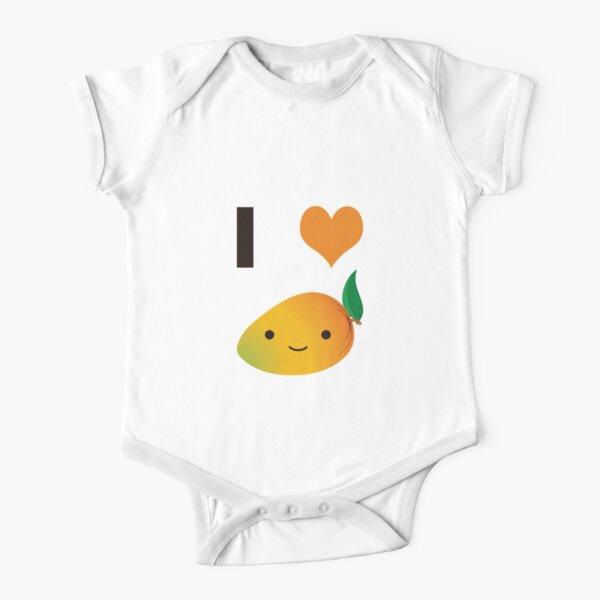 I Love Mango Cute Kawaii Smiling Mango Short Sleeve Baby One-Piece