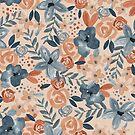 «Acuarela flores azul marino / desnuda» de pitaya-roja