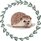 Hedgehog in Holly Wreath by shinypennyart