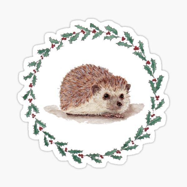 Hedgehog in Holly Wreath Sticker