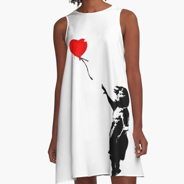 Banksy Girl with heart balloon graffiti street art HD HIGH QUALITY ONLINE STORE A-Line Dress