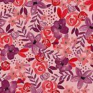 «Acuarelas flores rojo / hibisco» de pitaya-roja
