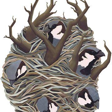 Sparrow Birds in Bird Nest by thecuriouswild