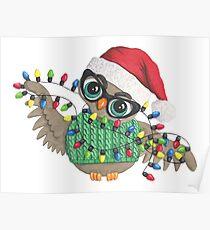 Owl with Christmas Lights Poster