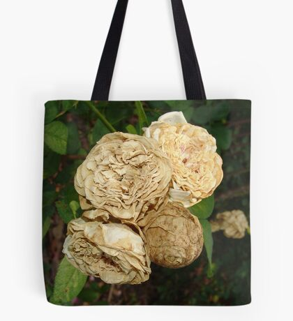 White Withered Roses Tote Bag