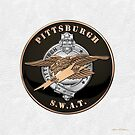 Pittsburgh Police S.W.A.T. Team Emblem over White Leather  by Serge Averbukh