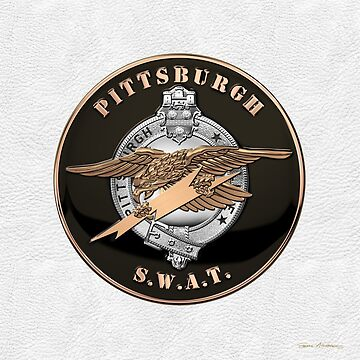 Pittsburgh Police S.W.A.T. Team Emblem over White Leather  by Captain7