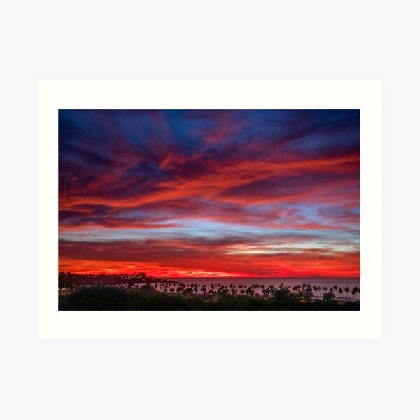 Vibrant sunset over La Jolla Shores, California Art Print