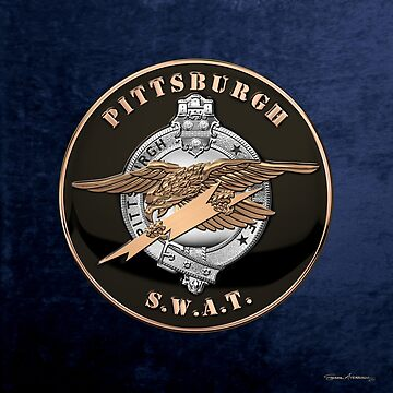 Pittsburgh Police S.W.A.T. Team Emblem over Blue Velvet by Captain7