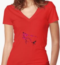 Bird on a Tree Women's Fitted V-Neck T-Shirt
