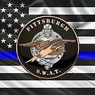 Pittsburgh Police S.W.A.T. Team Emblem over The Thin Blue Line Flag by Serge Averbukh