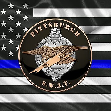 Pittsburgh Police S.W.A.T. Team Emblem over The Thin Blue Line Flag by Captain7