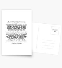 Man In The Arena Theodore Roosevelt Quote Postcards