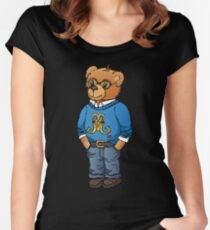 Preppy polo bear hand drawn illustration by Natasha Pankina Women's Fitted Scoop T-Shirt