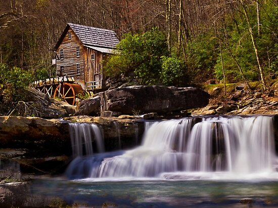 Falls At the Mill - Babcock State Park - WV by Kathy Weaver
