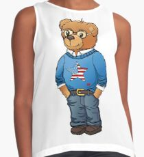 Preppy polo bear hand drawn illustration by Natasha Pankina Contrast Tank