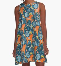 Märchen in Blau + Orange A-Linien Kleid